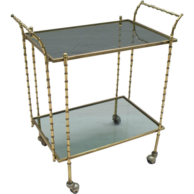Vintage bar cart in brass and glass from Maison Baguès