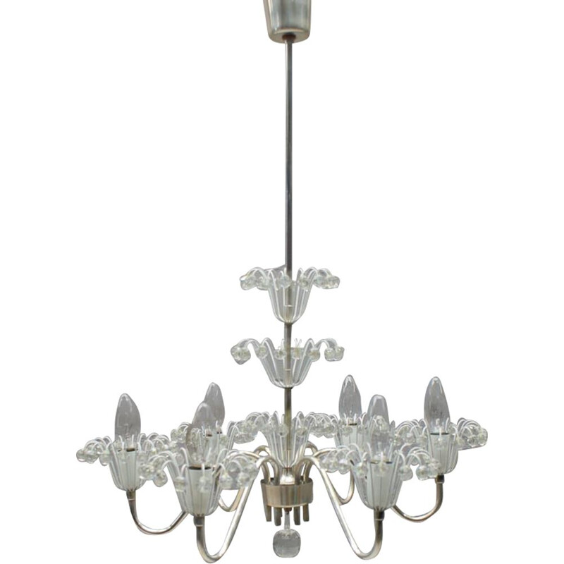Vintage chandelier in silvered metal by Emil Stejnar for Rupert Nikoll