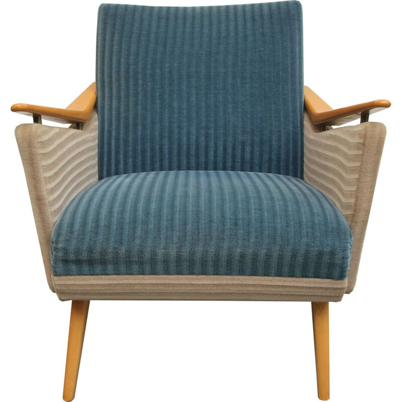 Vintage armchair in beech and blue and beige fabric