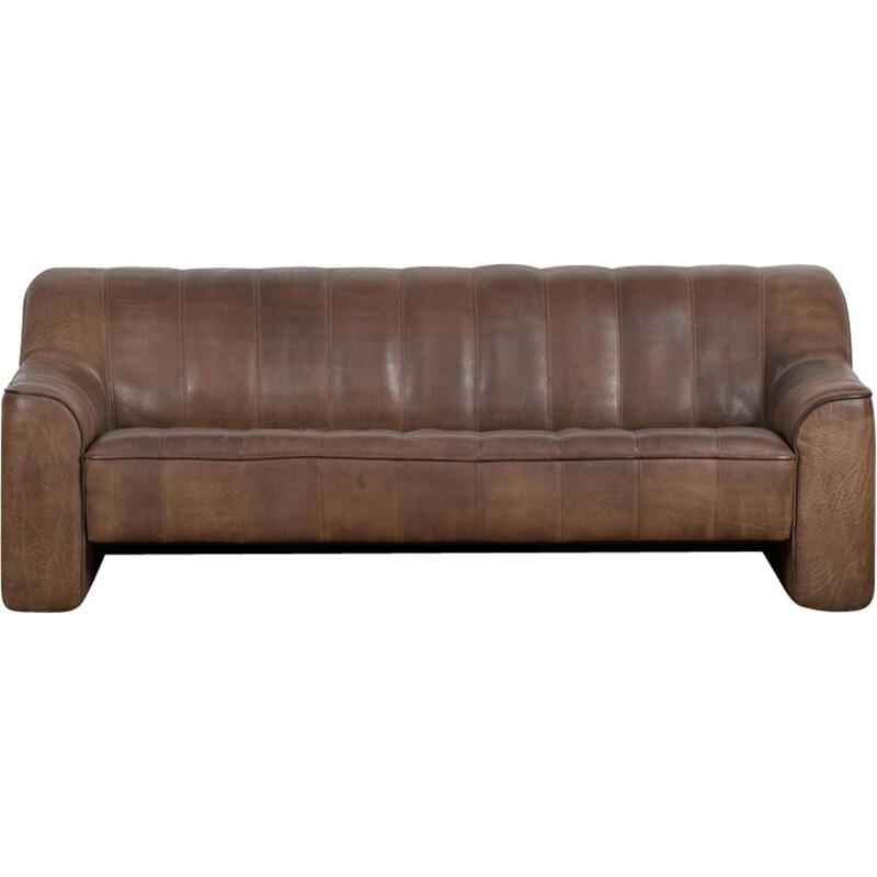 Vintage 3-seater sofa De Sede DS 44 brown dark cognac buffalo leather 1970s