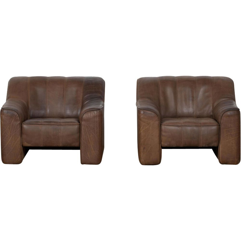 Set of 2 vintage lounge chairs DS44 by De Sede 1970s