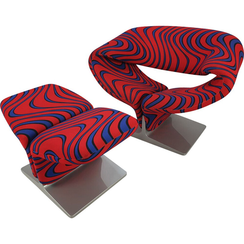Vintage Ribbon Chair & Ottoman by Pierre Paulin for Artifort, 1980s