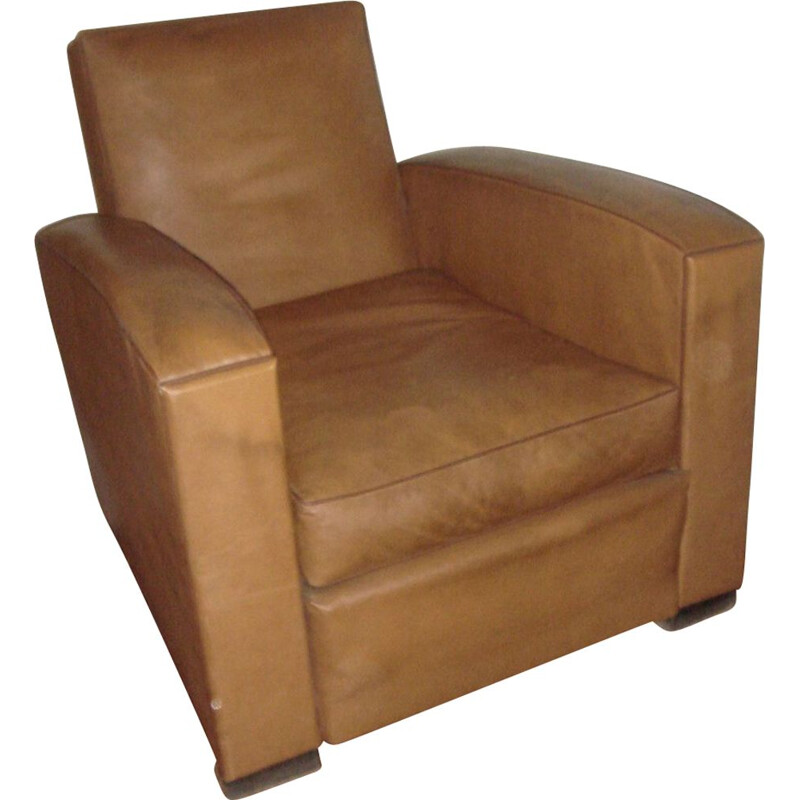 Vintage club armchair in brown leather by Adnet,1930
