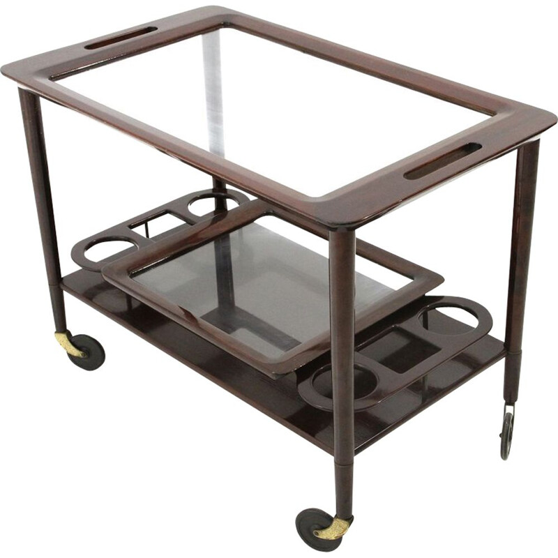 Vintage trolley with wooden tray from the 50s