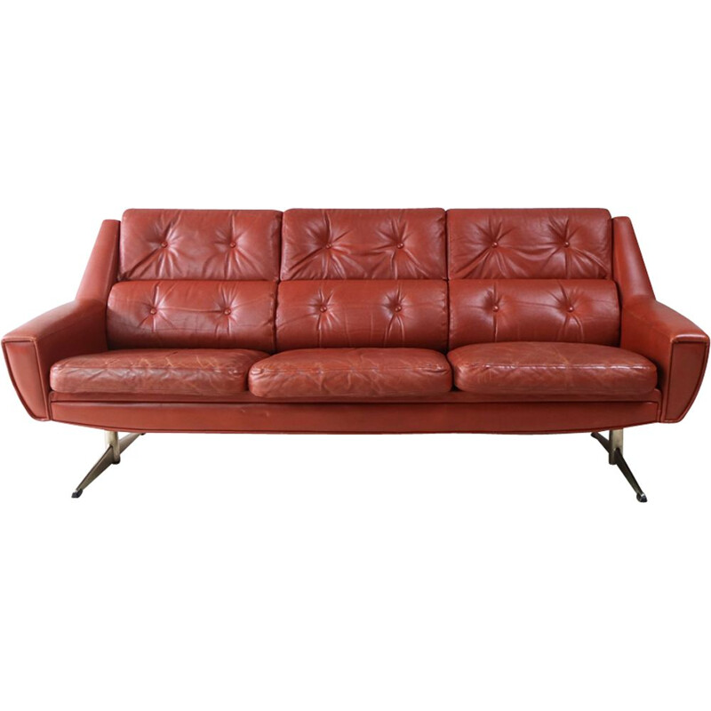 Vintage 3 seater sofa in leather,Denmark,1960