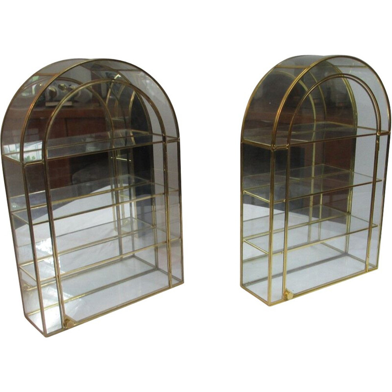 Vintage pair of storange in glass and brass from the 70s