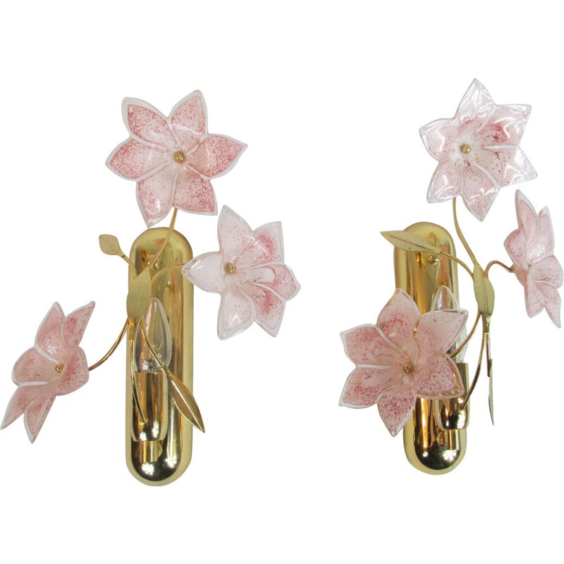 Vintage Italian Brass and Murano Glass Sconces, 1970s, Set of 2