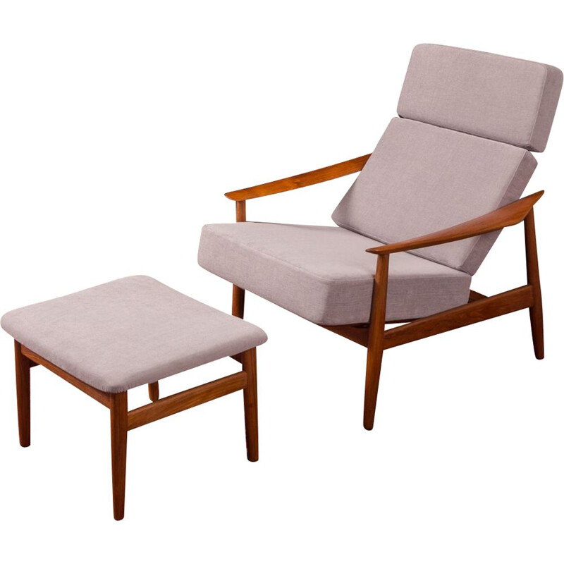 Vintage armchair with foot stool FD 164 by Arne Vodder for France & Søn 1960s