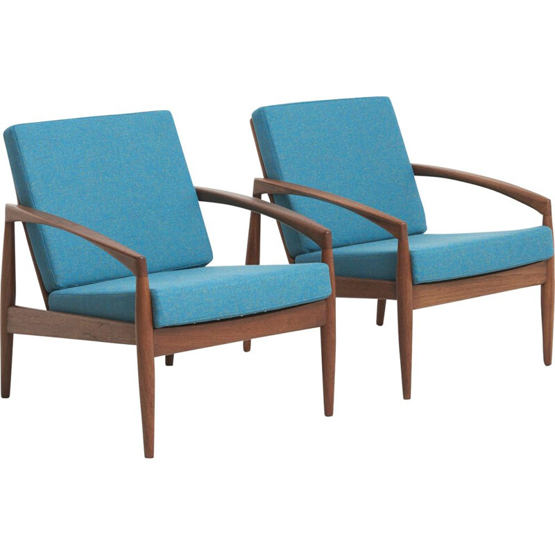 Set of 2 blue paper knife armchairs by Kai Kristiansen