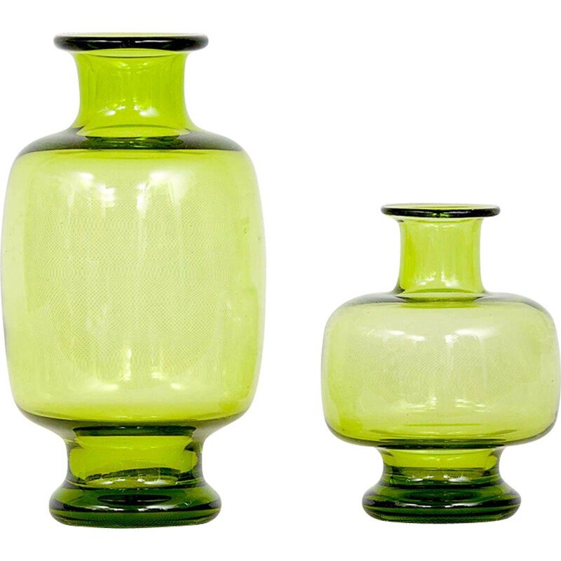 Pair of glass vases green by Per Lutken for Holmegaard 1950