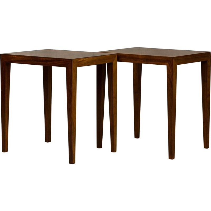 Vintage pair of rosewood side tables by Severin Hansen Haslev 1960