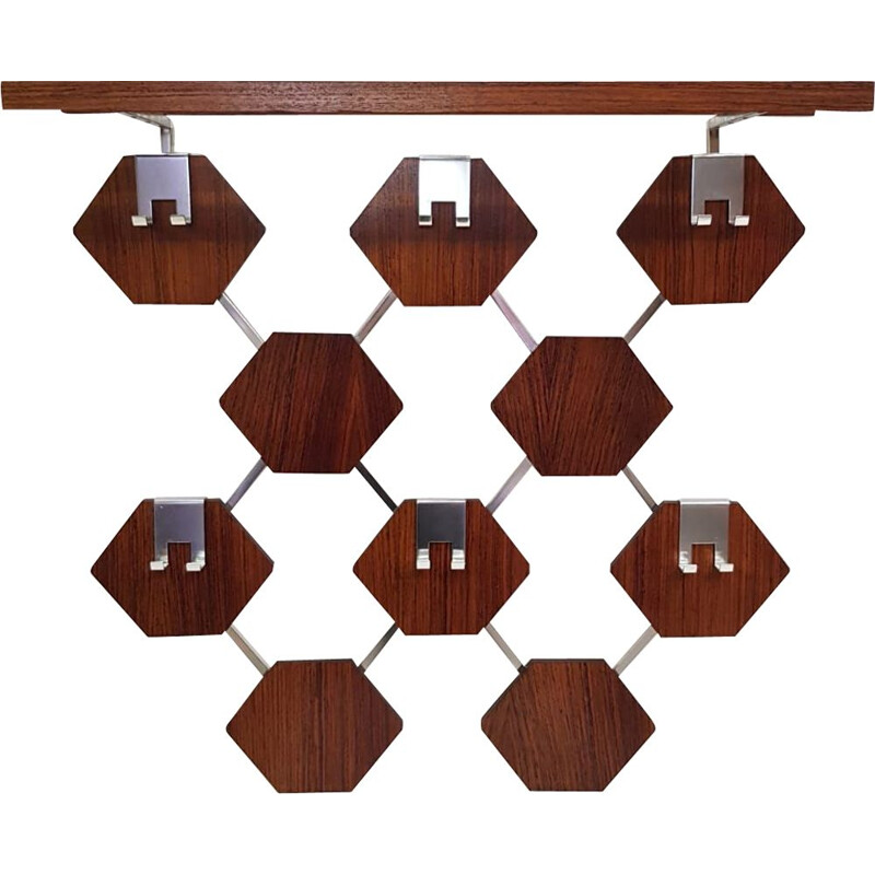 Vintage wall coat rack in chrome and teak from the 1960s