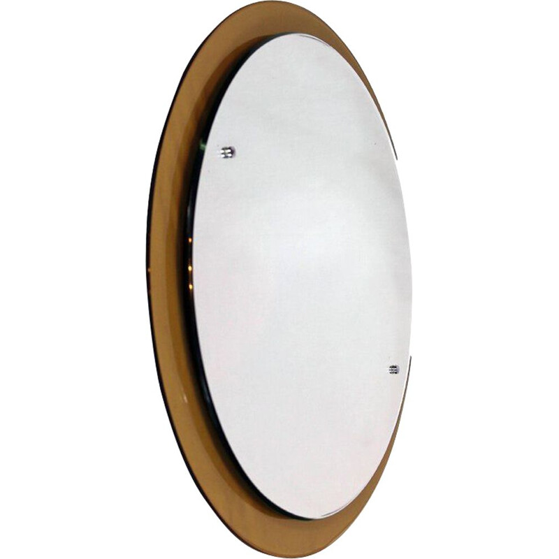 Vintage round mirror from Crystal Art Italy, 1960