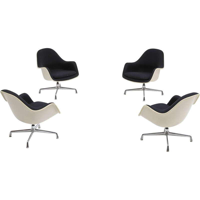 Set of 4 vintage swiveling armchairs EC175-8 by Charles and Ray Eames for Herman Miller