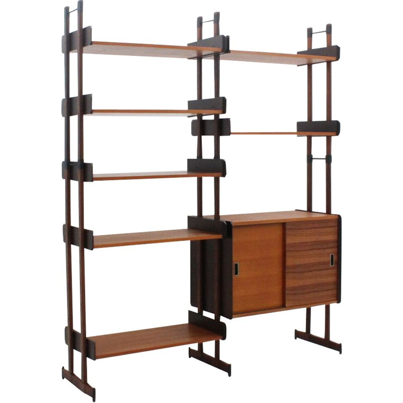 Vintage wall unit in teak and rosewood
