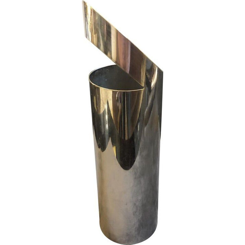 Vintage vase in silvered metal by Paolo Gatti