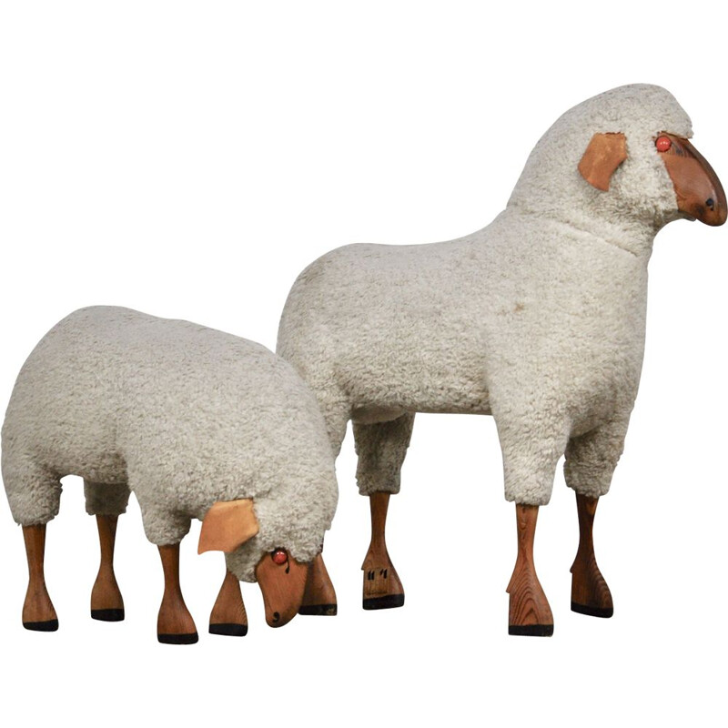 Pair of sheep stools by Hanns peter Krafft for Meier, 1960s