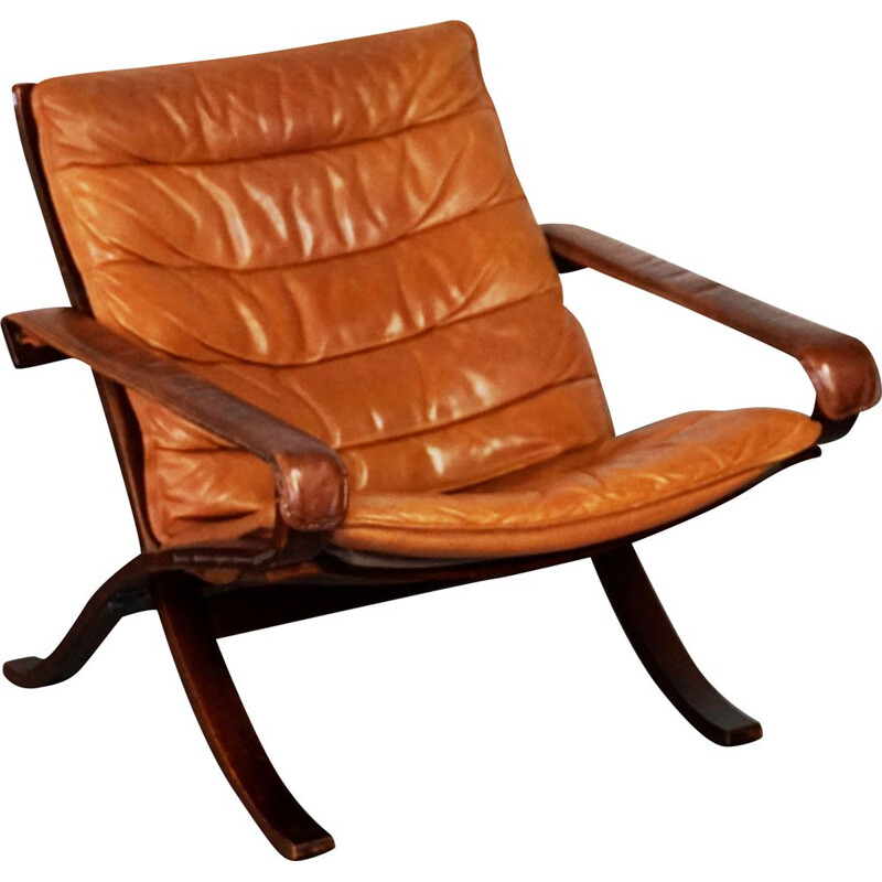Vintage cognac leather lounge chair Flex by Ingmar Relling for Westnofa