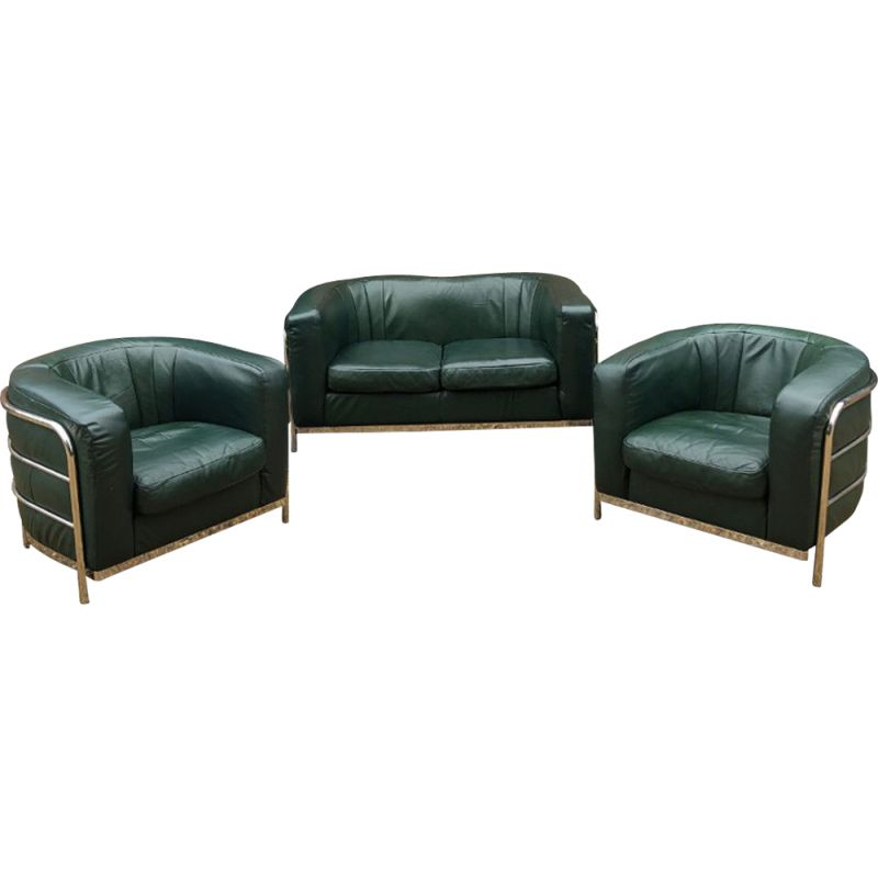 Vintage green leather linving room set ONDA by Zanotta