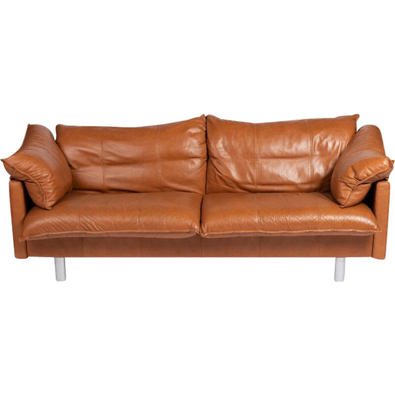 Vintage 2.5 seat leather sofa - Denmark 1970