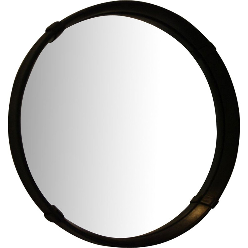 Vintage mirror in black leather 1960