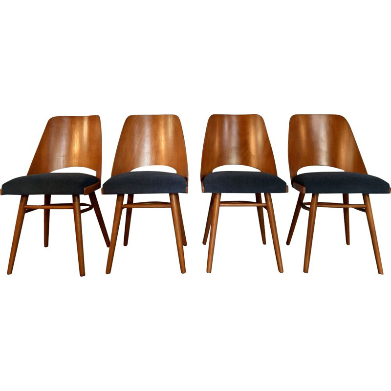 Set of 8 vintage beech chairs by Jiràk for Tatra 1960s