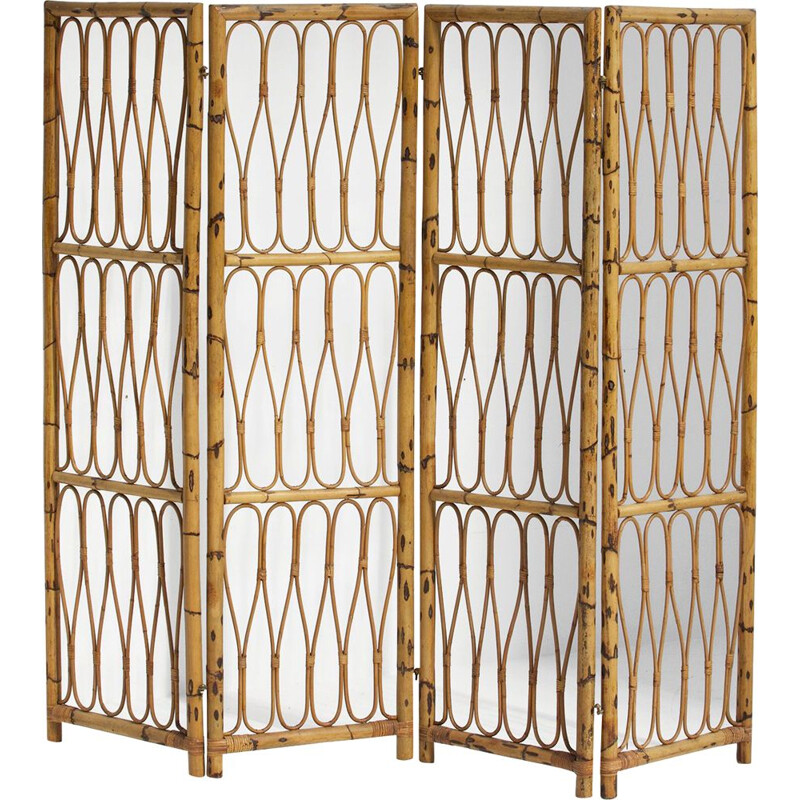 Vintage decorative folding screen from the 50s