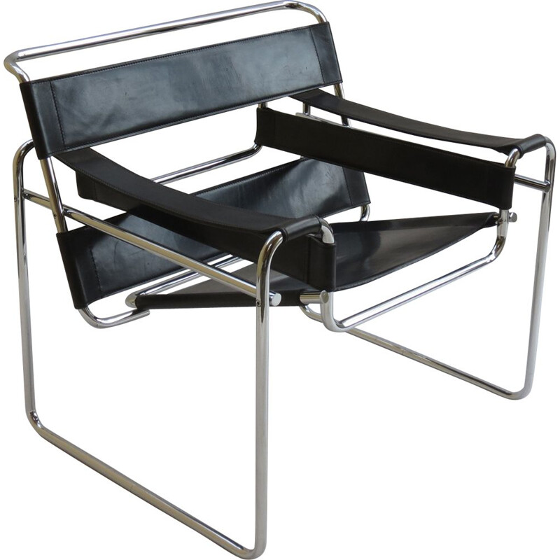 Vintage Wassily chair in leather and chrome by Marcel Breuer for Knoll, 1980