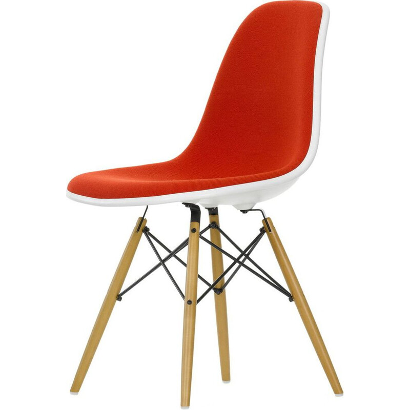 """Plastic Chair DSW"" with full upholstery by Charles and Ray Eames for VITRA"