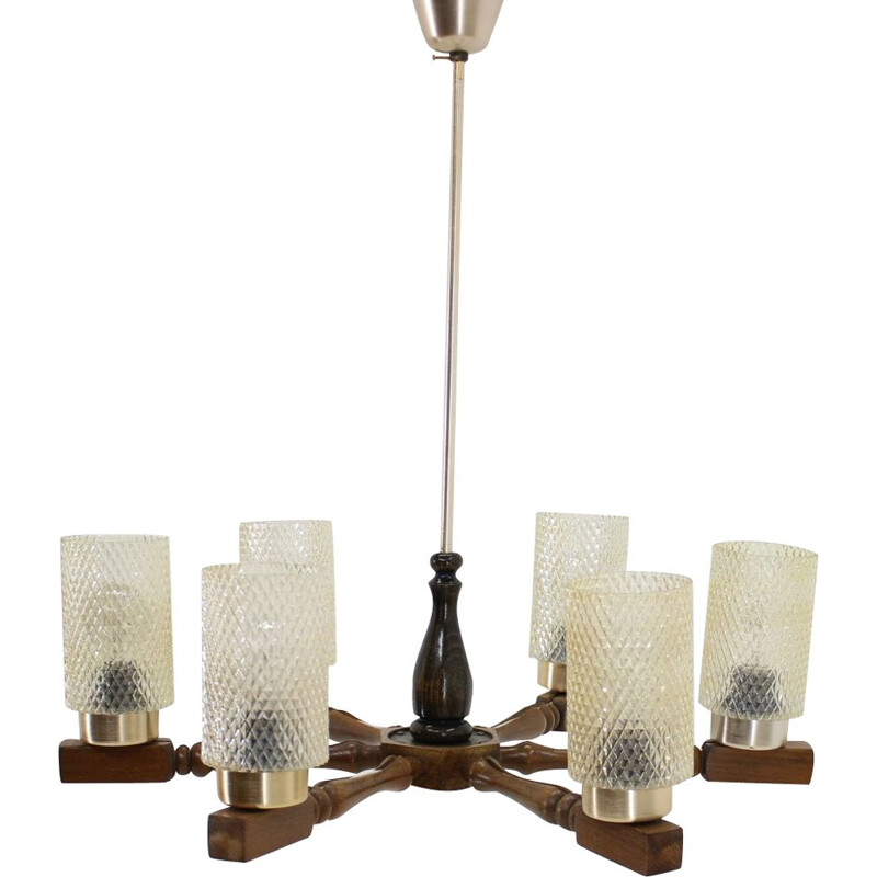 Vintage big chandelier in wood and glass