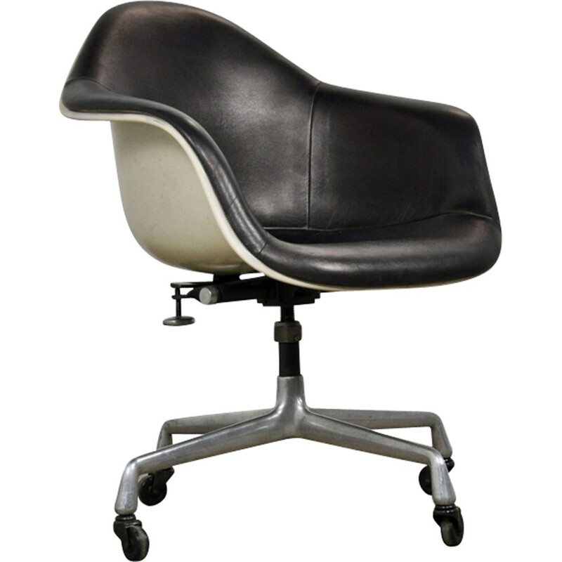 Vintage leather and fiberglass office chair by Charles Eames for Herman Miller