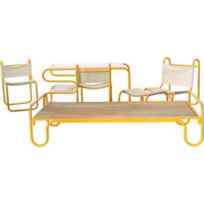 Tubular steel lounge set by Michel Hamon