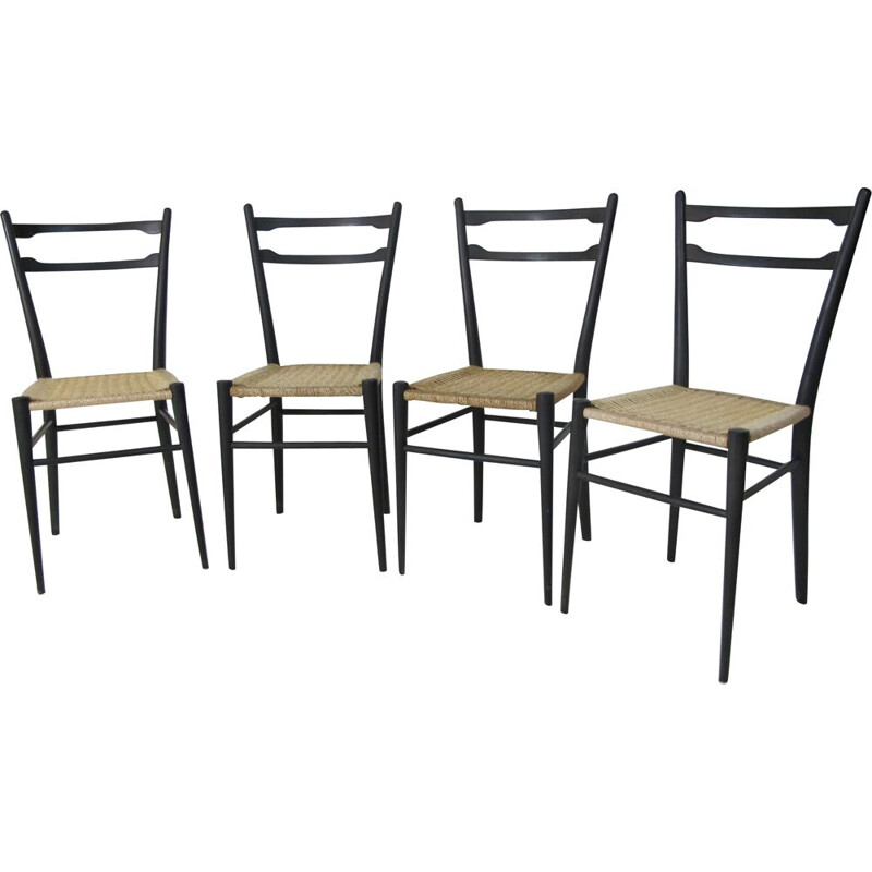 Set of 4 vintage Italian chairs in wood and rattan