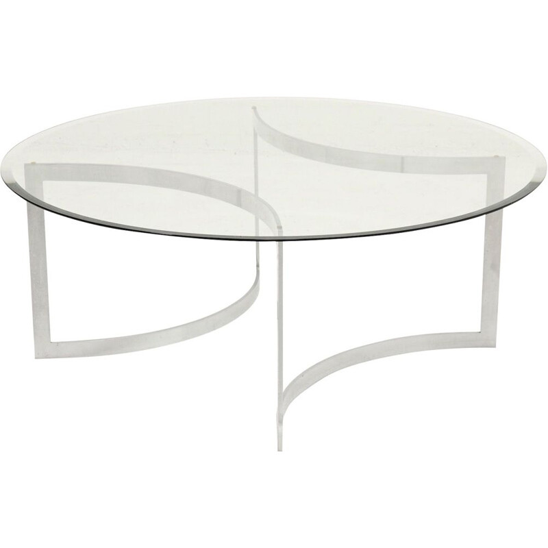 Vintage brushed metal and glass coffee table by Paul Legeard