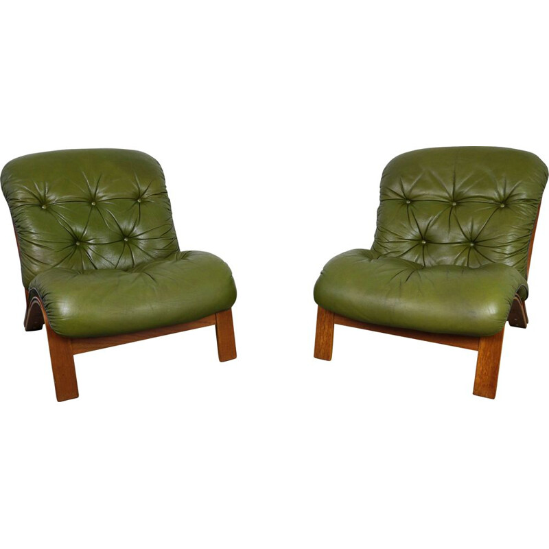 Pair of vintage armchairs by Elsa & Nordahl Solheim for Rybo Rykken & Co 1970s