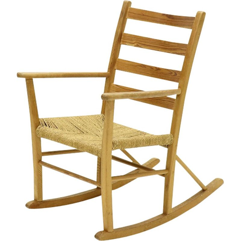 Vintage French pine and sisal rocking chair 1950
