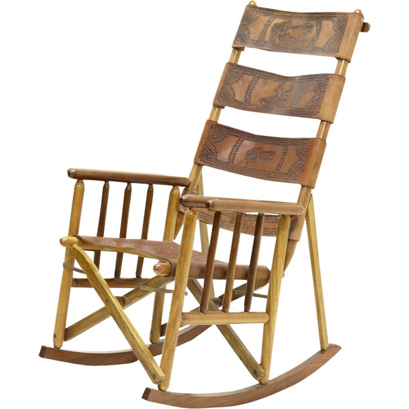 Vintage leather campaign folding rocking chair