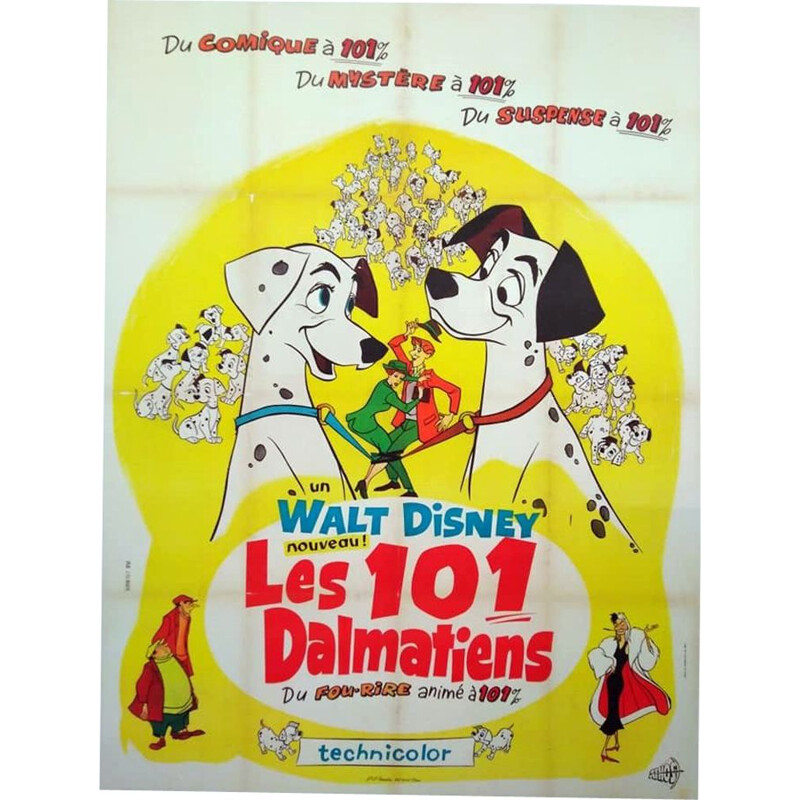 Vintage original poster 1961 the hundred one Disney Dalmatians