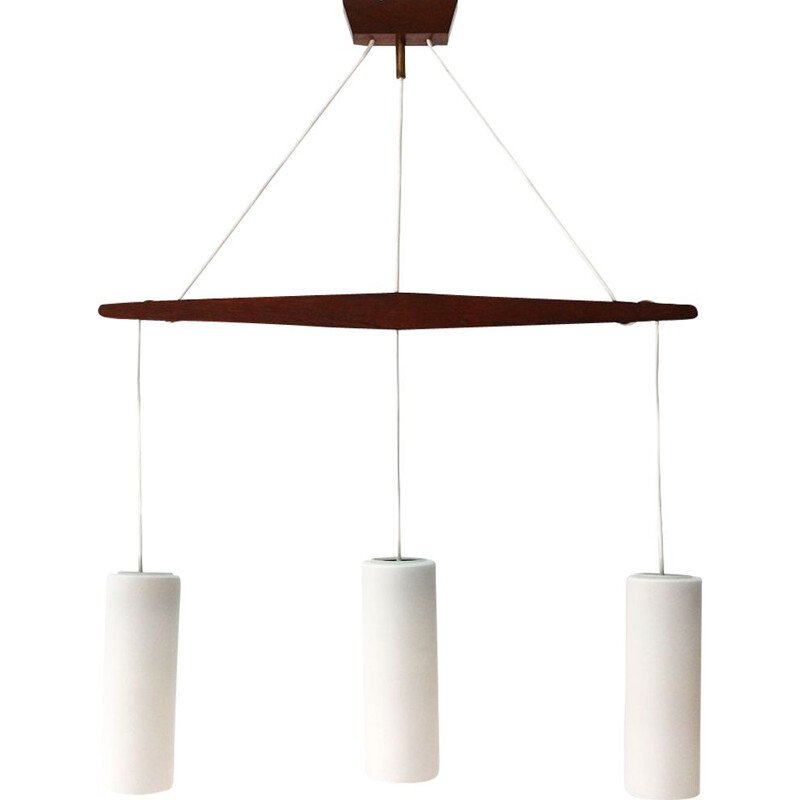Vintage pendant Lamp in teak & Frosted Glass 1960
