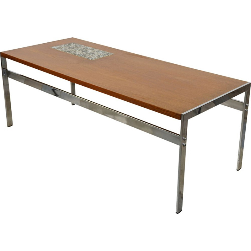 Vintage teak and ceramic coffee table 1960