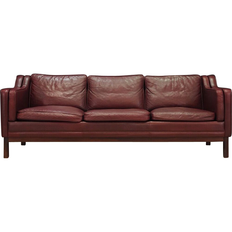 Vintage 3 seater sofa in leather,Denmark,1970