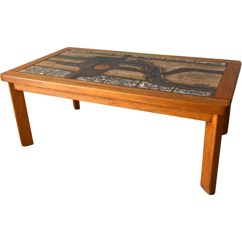 Vintage ceramic coffee table by Jean d'Asti Vallauris