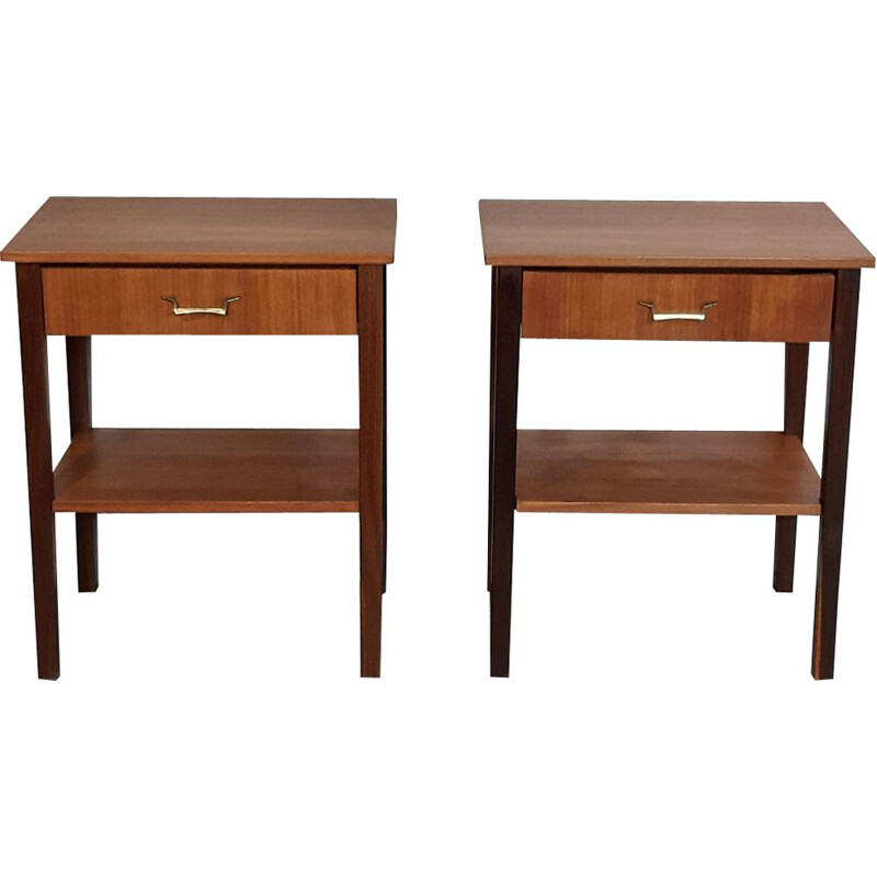 Pair of vintage Norwegian teak bedside table