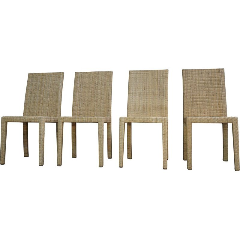 Set of 4 vintage chairs Jean Michel Frank and Adolphe Chanaux for Ecart International