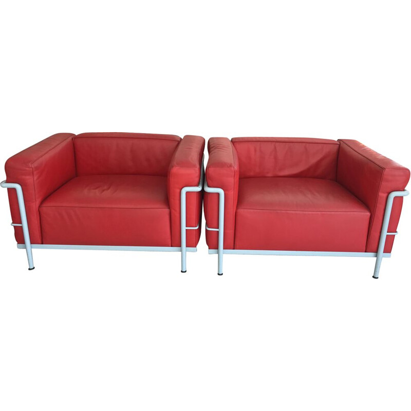 Pair of vintage LC3 red armchairs by Le Corbusier for Cassina