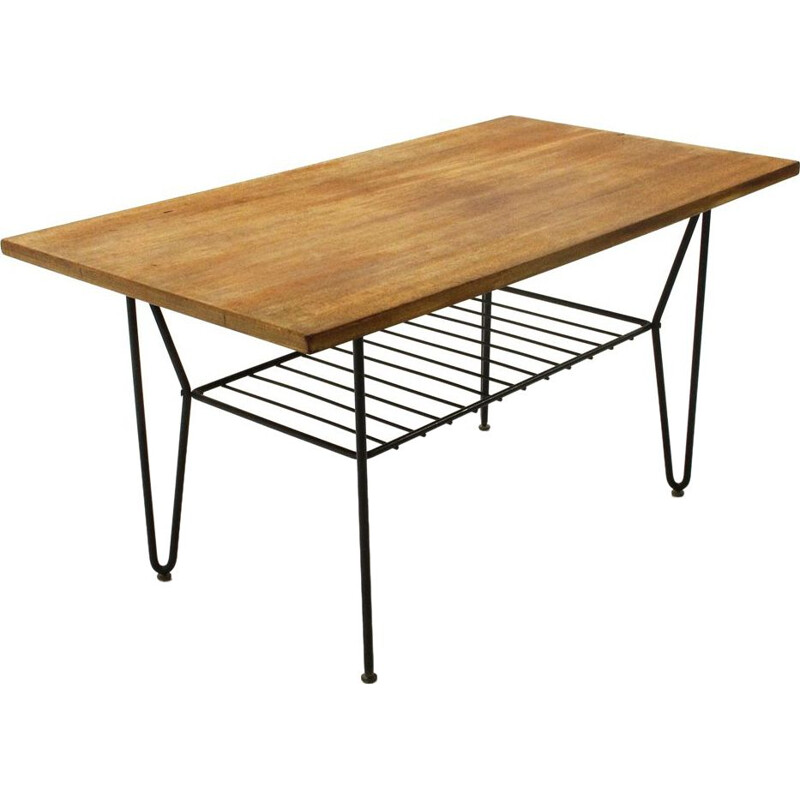 Vintage coffee table black metal and teak Italy 1950s