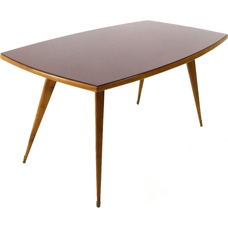 Vintage dining table burgundy top and wood Italy 1950s