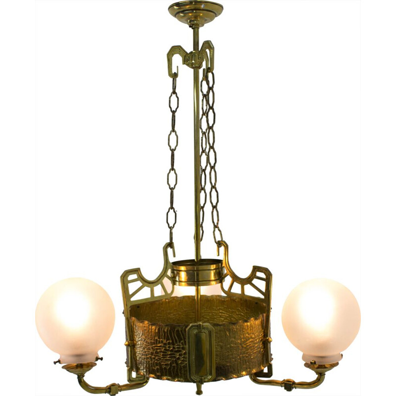 Vintage chandelier in brass Art Nouveau 1910s
