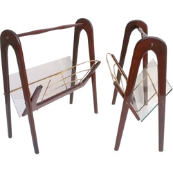 Pair of magazine racks in mahogany and glass, Cesare LACCA - 1950s