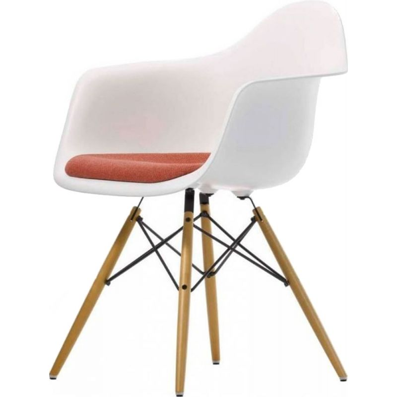 """""""Plastic Armchair DAW"""" with seat upholstery by Charles and Ray Eames for VITRA"""